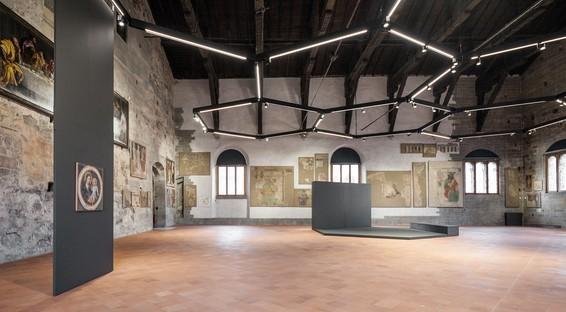CN10architetti New installation in the Sala delle Capriate, Palazzo della Ragione, Bergamo Alta