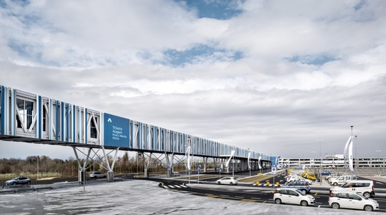 FUD Lombardini22 Physical Branding pedestrian walkway and entrance for Trieste Airport