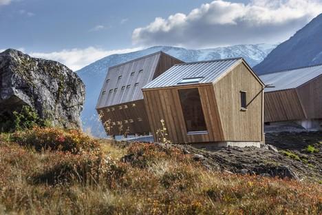 Snøhetta Tungestølen hiking cabins on Jostedalsbreen glacier in Norway