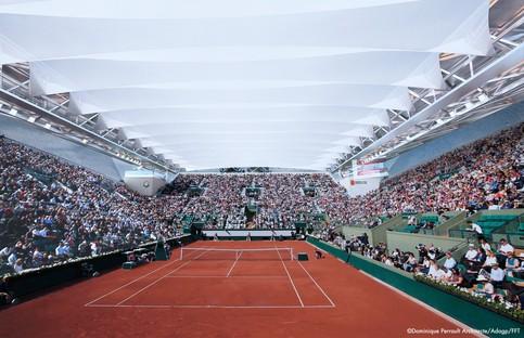 Dominique Perrault's roof over Suzanne Lenglen Tennis Court at Stade Roland Garros in Paris