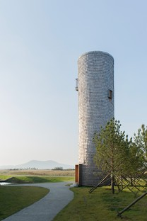 TAO: Belvedere with a tower overlooking the Swan Lake in Rongcheng, China