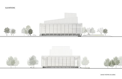 The new façade of the Grand Théâtre de Québec, designed by the Lemay and Atelier 21 studios