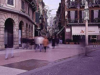 A stone-paved street, Verona, Italy. Boris Podrecca