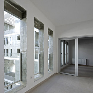 The tall windows of the residences