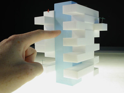 Scale model: the silo block is shown in blue