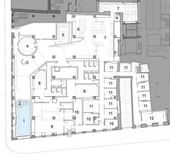 The centre's floorplan featuring the L-shaped spa area