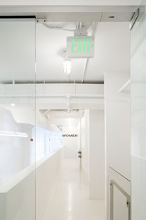 The mezzanine corridors overlook the ground floor