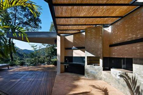The outdoor kitchen with the barbecue grill