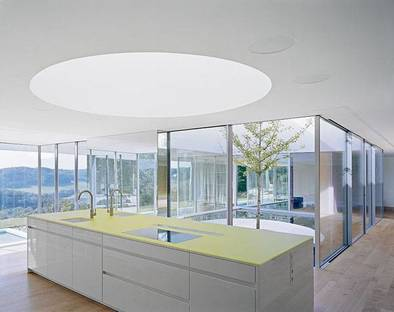 The kitchen overlooking the indoor pool