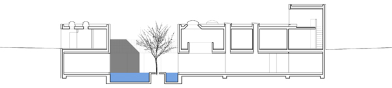 Longitudinal cross section of the indoor swimming pool