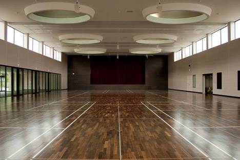 The hall that serves as both theatre and gym