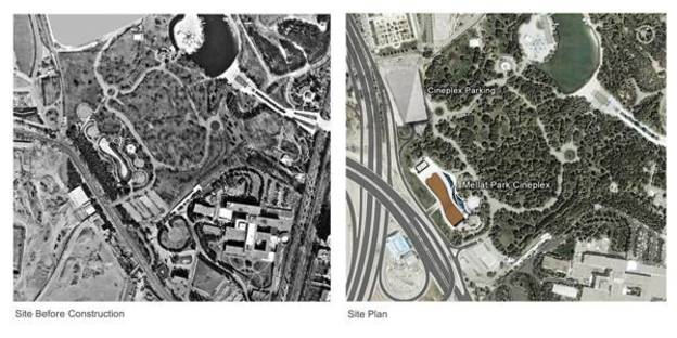 Plan of the area before and after the construction