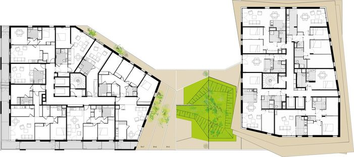 Image result for Architectural plan of residential complex