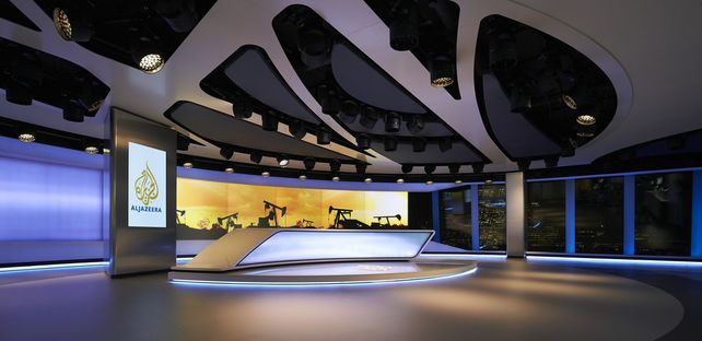 Newsroom and TV broadcasting studio for Al Jazeera Media Network in London
