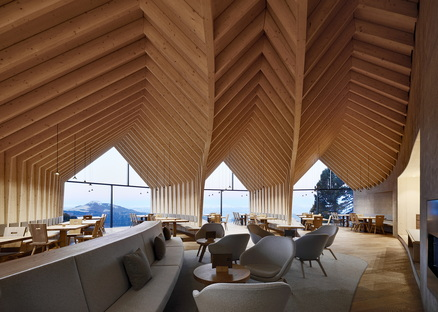 Oberholz mountain hut restaurant in South Tyrol, Peter Pichler and Pavol Mikolajcak