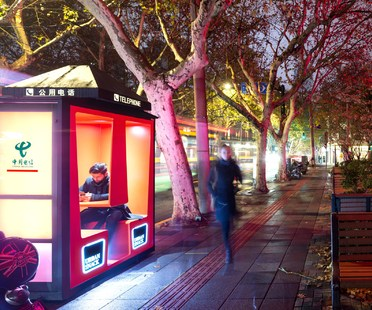 The Orange Phone Booths in Shanghai by 100architects