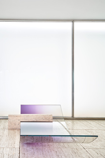Sabine Marcelis at the Mies van der Rohe Pavilion, Barcelona