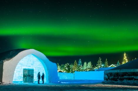 Riksbyggen's Solar Egg at the Icehotel in Jukkasjärvi