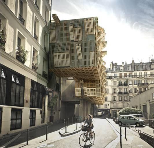 Futuristic student housing made of repurposed materials