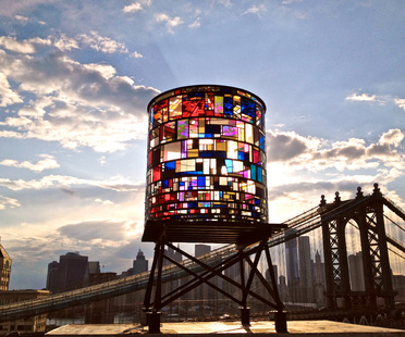 Watertower in Brooklyn. Installation by Tom Fruin.