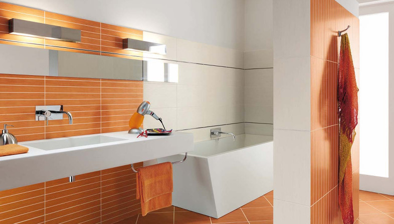 Ideas for floor and wall coverings in the bathroom - Bagno arancione ...