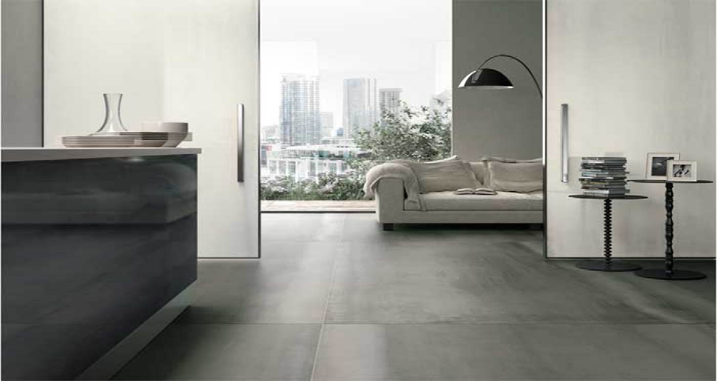 Large Tiles That Look Like Metal Indoor Flooring Floornature