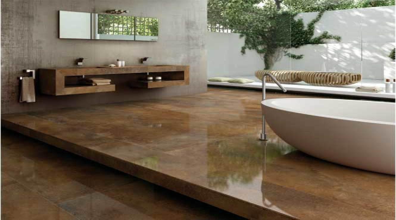 Large Tiles That Look Like Metal Indoor Flooring