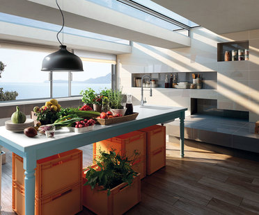 Porcelain floor and wall tiles for a new style in the kitchen