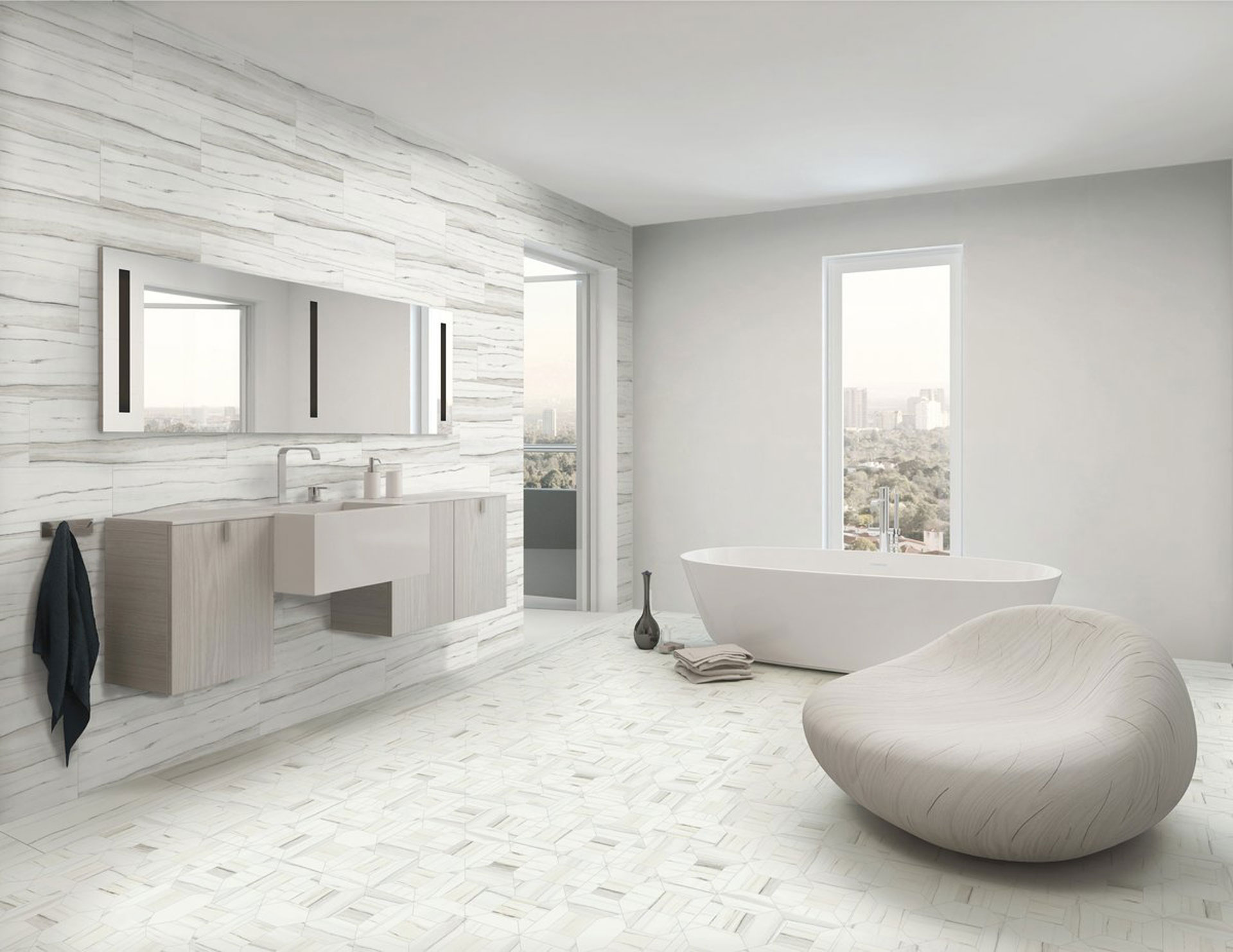 . The contemporary bathroom with Stonepeak s porcelain floor and wall