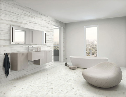 The contemporary bathroom with Stonepeak's porcelain floor and wall tiles