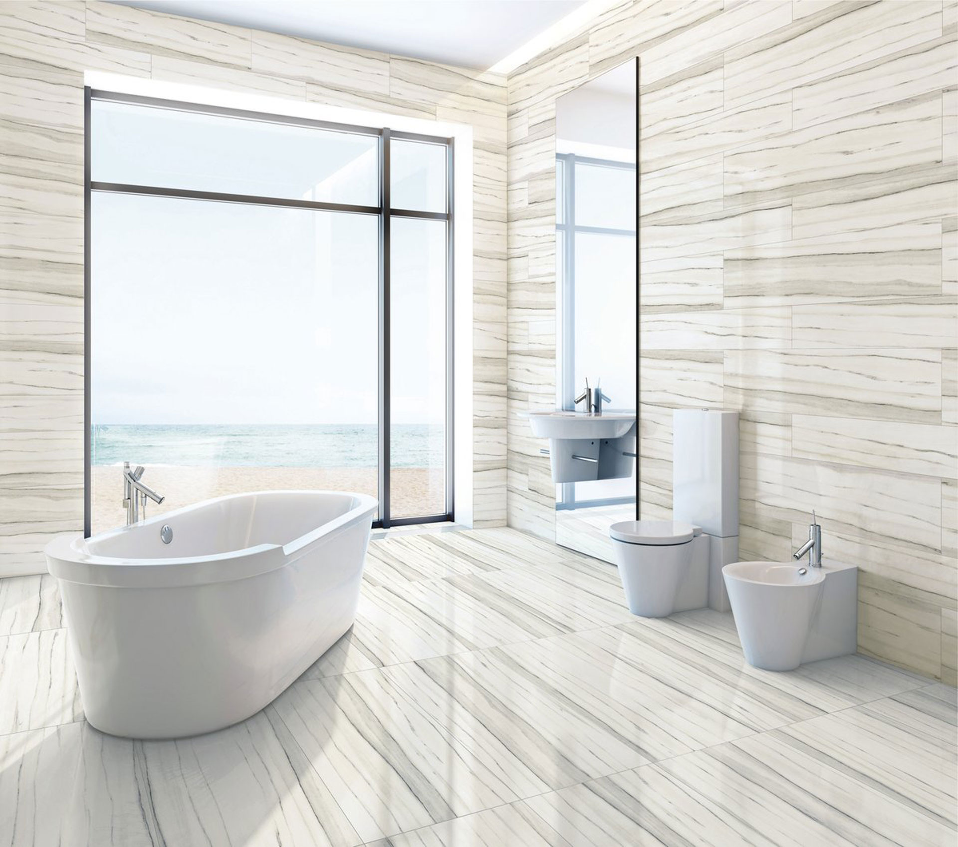 The contemporary bathroom with Stonepeak's porcelain floor ...