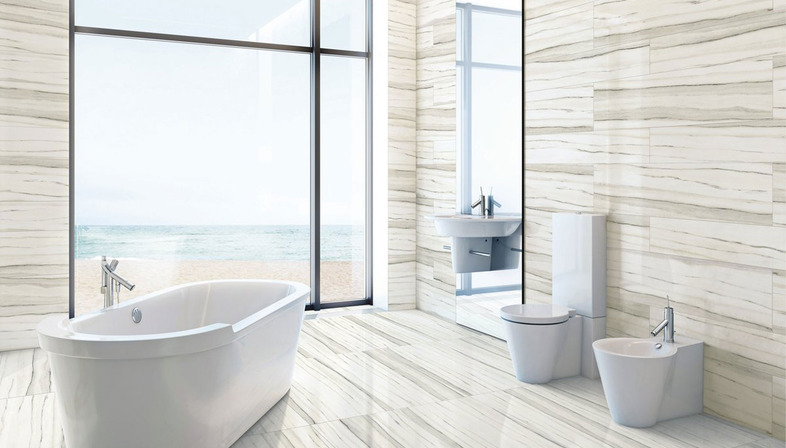 The Contemporary Bathroom With Stonepeaku0027s Porcelain Floor And Wall Tiles