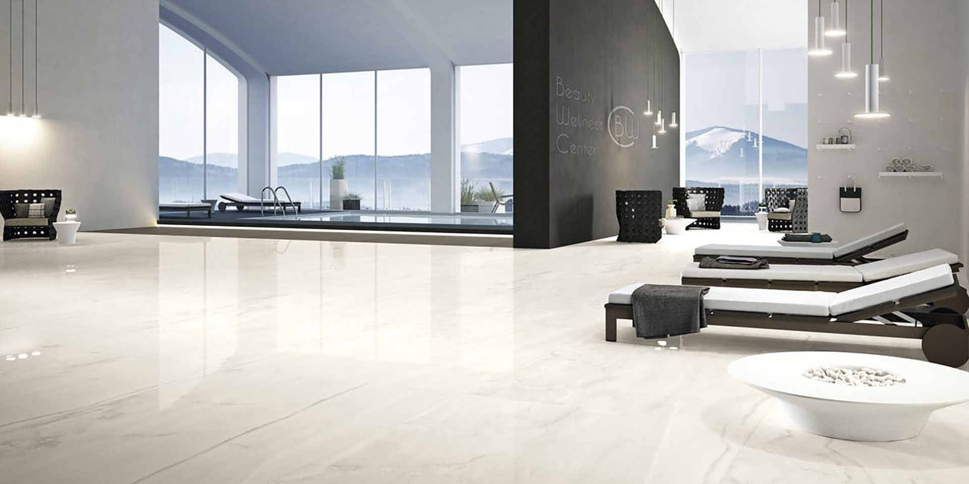 Marble effect floors in the large Maximum GranitiFiandre size