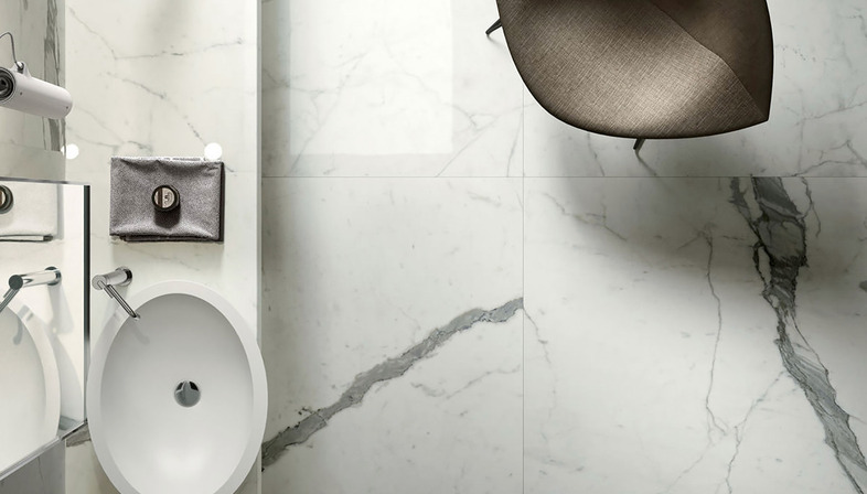 Marble, stone, resin and cement effects: ceramics from Fiandre and Aqua Maximum