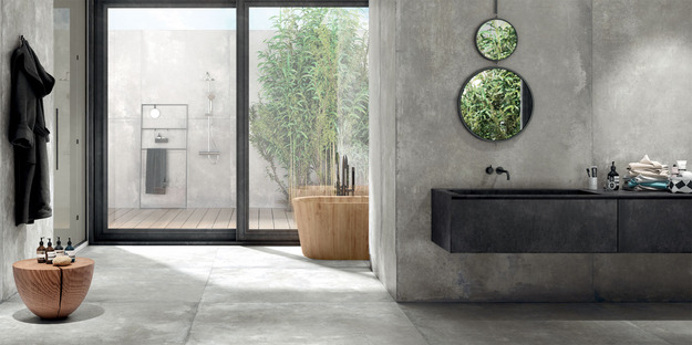 Harmony and naturalness: Maxfine Walk On and Cluster cement-effect maxi-slabs