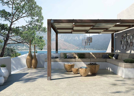 Porcelaingres outdoor surface coverings: stone, cement and wood effects