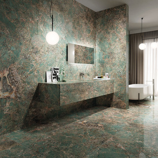 From natural stone to high-tech ceramics: the timeless look of Amazonite and Emperador
