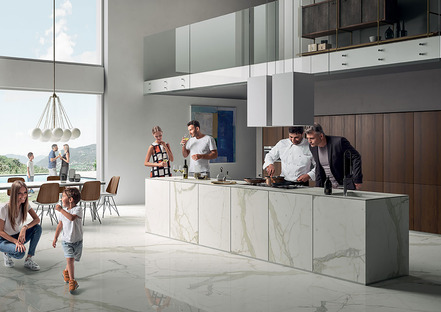 Resistant, hygienic, inalterable SapienStone Calacatta countertops play a starring role in the kitchen