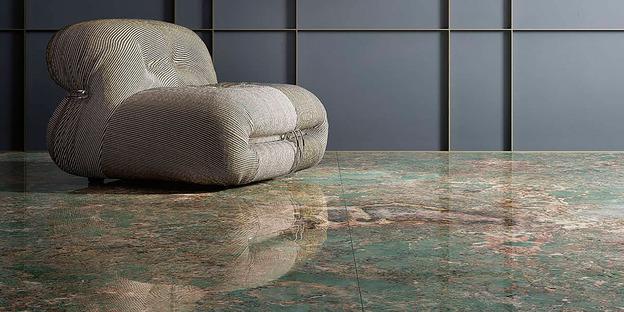 Fiandre ceramic maxi-slabs: the attraction of teal Amazonite