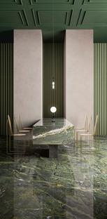 Fiandre ceramic surfaces: marble-effect floors, walls and custom furnishings