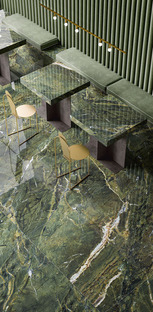 Green, the trendy colour for surface coverings and furnishings, with all the fascination of Fiandre marbles