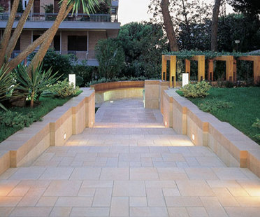 Stone-like porcelain paving tiles for outdoor use