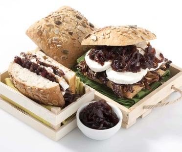 Pumpkin and sunflower seed bread buns with goat's milk cheese, grilled radicchio and onion jam