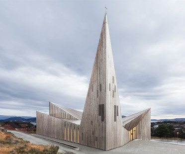Wooden church on a hill in Knarvik