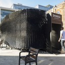 """The Bolt"" skin-like wooden pavilion for Shinola by Giles Miller Studio"