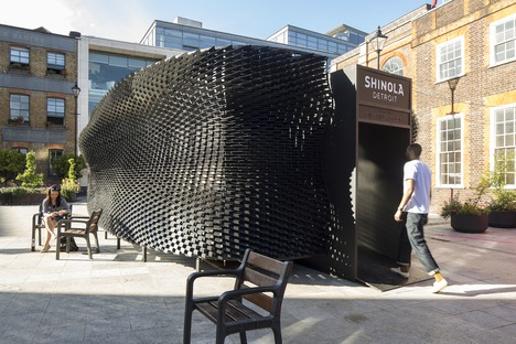 """The Bolt"" skin-like wooden pavilion for Shinola by Giles Miller Studio"