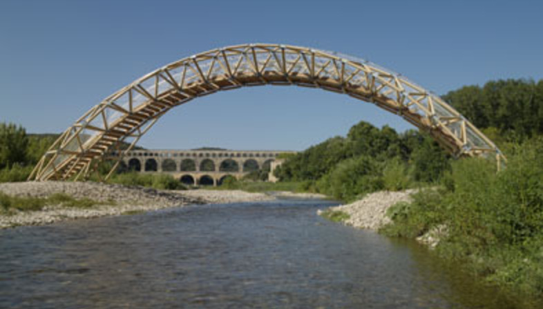 The Pont du Gard's little brother: a cardboard tube bridge by Shigeru Ban