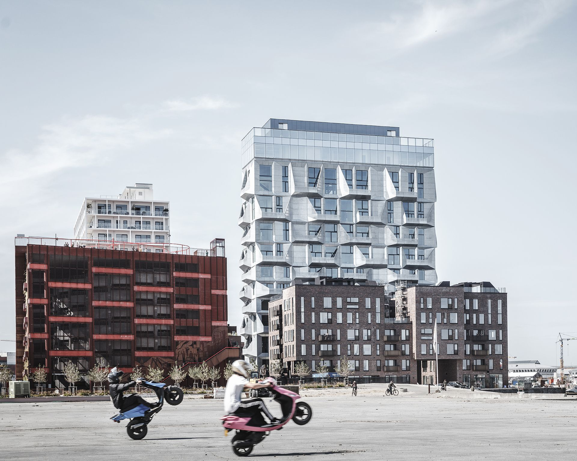 Apartments in a grain silo with a galvanised steel façade, by Cobe architects