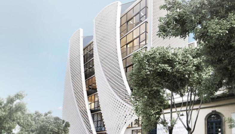 Façade of polymeric cement masonry blocks in Mexico City