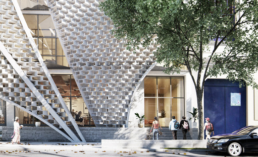 Façade of polymeric cement masonry blocks in Mexico City